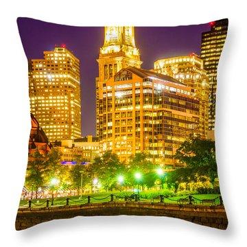 Boston Cityscape At Night Throw Pillow