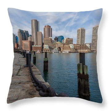 Boston Cityscape From The Seaport District 3 Throw Pillow
