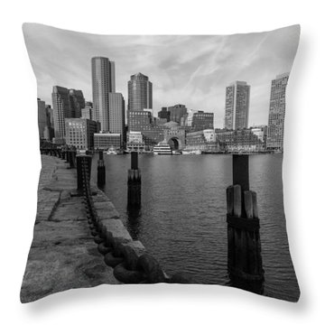 Boston Cityscape From The Seaport District In Black And White Throw Pillow