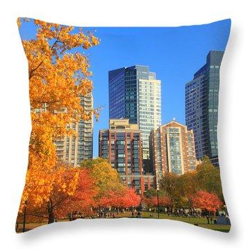 Boston Common In Autumn Throw Pillow by John Burk