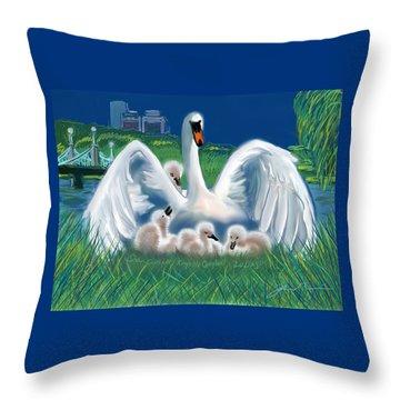 Boston Embraces Her Own Throw Pillow by Jean Pacheco Ravinski