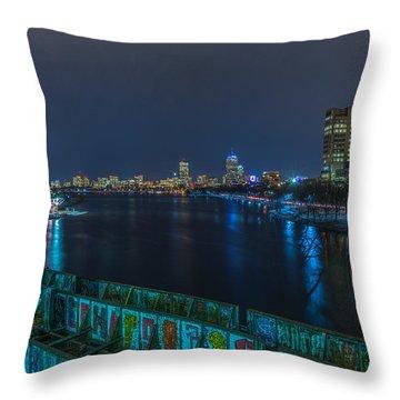Boston From The Boston University Bridge Throw Pillow
