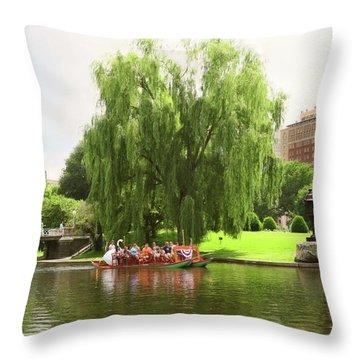 Boston Garden Swan Boat Throw Pillow