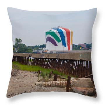 Boston Gas Tank From Squantom  Throw Pillow by Brian MacLean