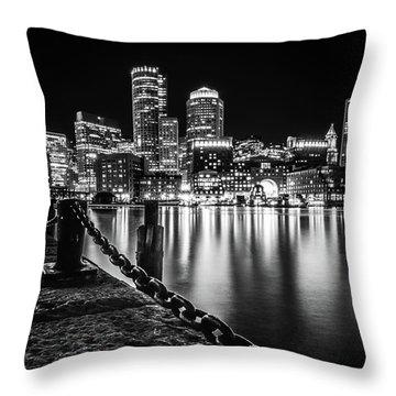 Boston Harbor At Night Throw Pillow