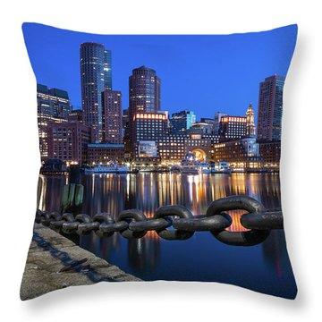 Boston Harbor Blue Throw Pillow
