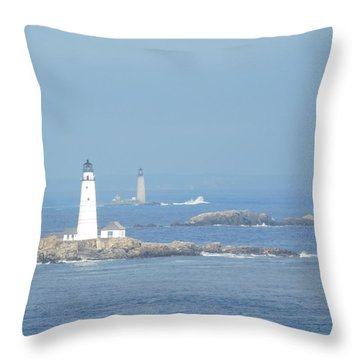 Boston Harbor Lighthouses Throw Pillow by Catherine Gagne
