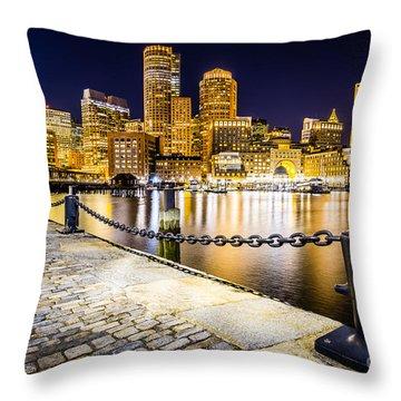 Boston Harbor Skyline At Night Picture Throw Pillow