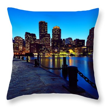 Boston Harbor Walk Throw Pillow by Rick Berk