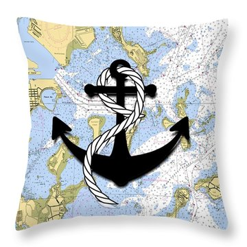 Boston Harbor With Anchor Throw Pillow