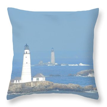 Boston Harbors Lighthouses Throw Pillow by Catherine Gagne