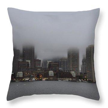 Boston In The Fog Throw Pillow