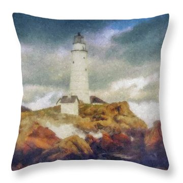 Boston Light On A Stormy Day Throw Pillow