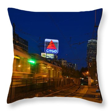 Boston Ma Green Line Train On The Move Throw Pillow