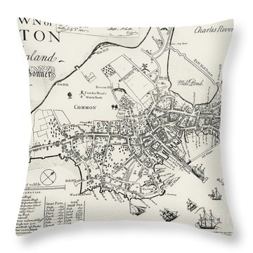 Boston Map, 1722 Throw Pillow