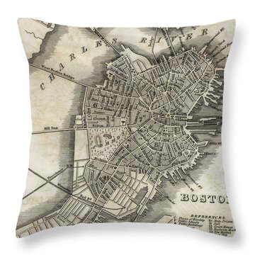 Boston Map Of 1842 Throw Pillow by George Pedro