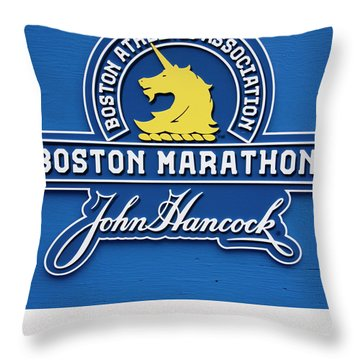 Throw Pillow featuring the photograph Boston Marathon - Boston Athletic Association by Joann Vitali