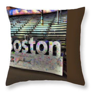 Throw Pillow featuring the photograph Boston Marathon Sign by Joann Vitali