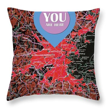 Boston Massachusetts 1948 Red Old Map You Are Here Throw Pillow