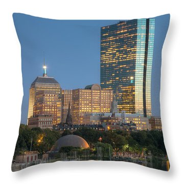 Boston Night Skyline Iv Throw Pillow by Clarence Holmes