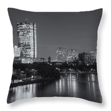 Boston Night Skyline V Throw Pillow