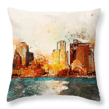 Boston, Panorama - 10 Throw Pillow