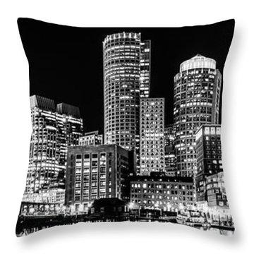 Boston Panorama Cityscape Black And White Photo  Throw Pillow