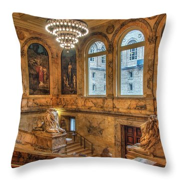 Throw Pillow featuring the photograph Boston Public Library Architecture by Joann Vitali