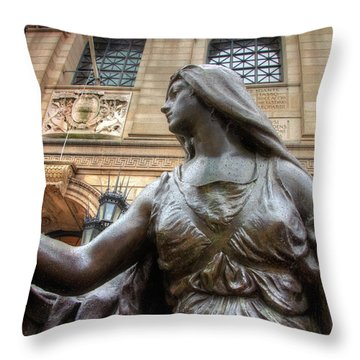 Throw Pillow featuring the photograph Boston Public Library Lady Sculpture by Joann Vitali