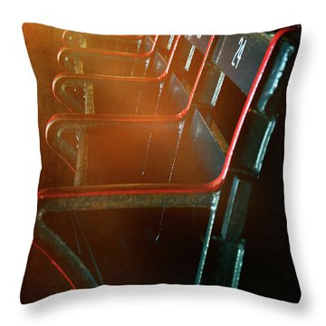 Throw Pillow featuring the photograph Boston Red Sox Fenway Park Seats by Joann Vitali