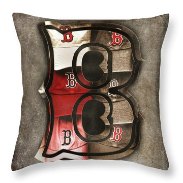 Throw Pillow featuring the photograph Boston Red Sox  - Letter B by Joann Vitali