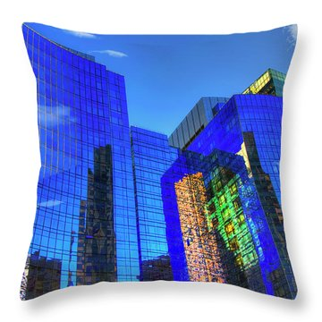 Throw Pillow featuring the photograph Boston Reflections - Fort Point Channel by Joann Vitali