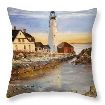 Boston Rocky Coast Throw Pillow