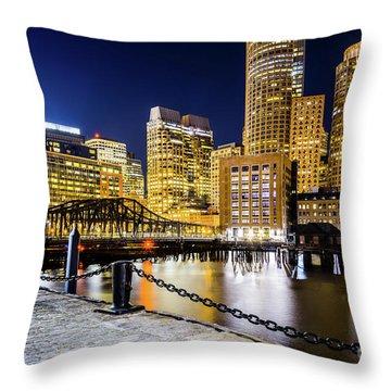 Boston Skyline And Boston Harbor At Night Photo Throw Pillow