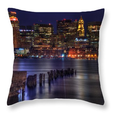 Boston Skyline At Night 437 Throw Pillow