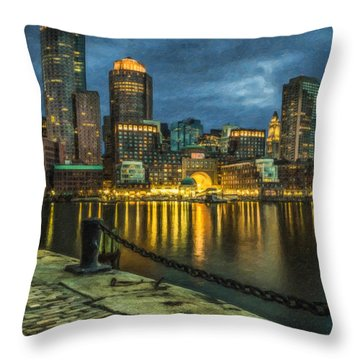 Boston Skyline At Night - Cty828916 Throw Pillow