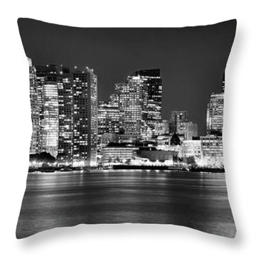 Boston Skyline At Night Panorama Black And White Throw Pillow