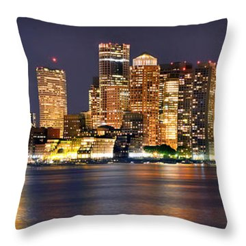 Boston Skyline At Night Panorama Throw Pillow