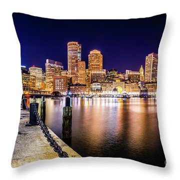Boston Skyline At Night Picture Throw Pillow