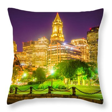 Boston Skyline At Night With Christopher Columbus Park Throw Pillow
