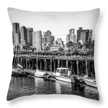 Boston Skyline At Piers Park Black And White Photo Throw Pillow