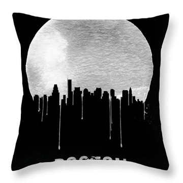 Boston Skyline Black Throw Pillow