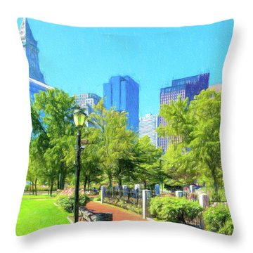 Boston Skyline From Columbus Park Throw Pillow