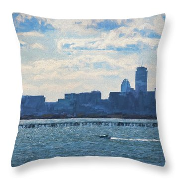 Boston Skyline From Deer Island Throw Pillow