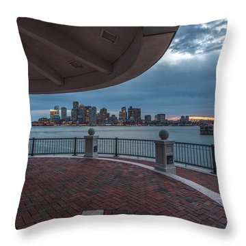 Boston Skyline From Piers Park  East Boston Ma Throw Pillow