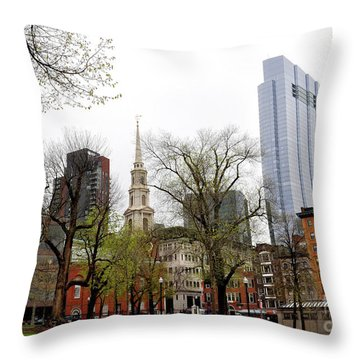 Boston Skyline From The Common Throw Pillow
