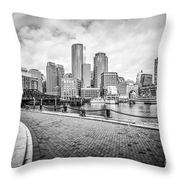 Boston Skyline Harborwalk Black And White Picture Throw Pillow