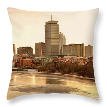 Boston Skyline On A December Morning Throw Pillow