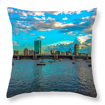 Boston Skyline Painting Effect Throw Pillow