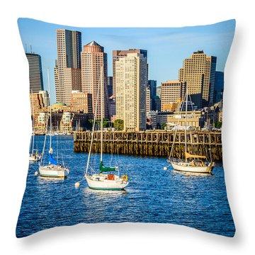 Boston Skyline Photo With Port Of Boston Throw Pillow